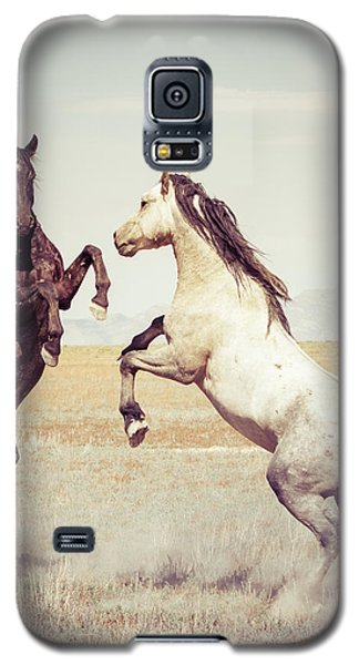 Galaxy S5 Case featuring the photograph Fighting Stallions by Mary Hone