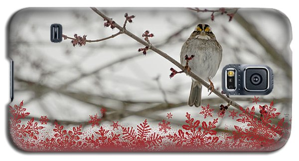 Galaxy S5 Case featuring the mixed media Finch Christmas by Trish Tritz