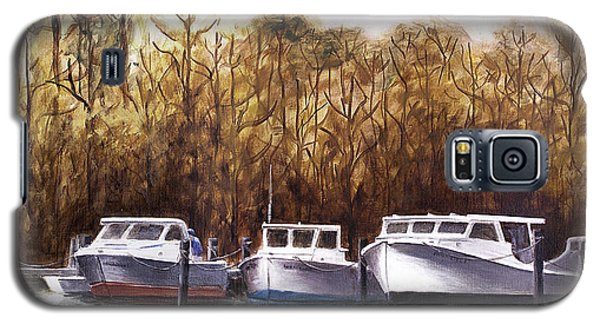 Fine Art Traditional Oil Painting 3 Workboats Chesapeake Bay Galaxy S5 Case
