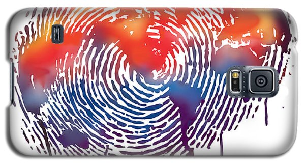 Finger Print Map Of The World Galaxy S5 Case