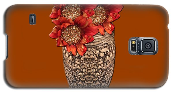 Galaxy S5 Case featuring the photograph Fire Brick Flora Vase by Rockin Docks Deluxephotos