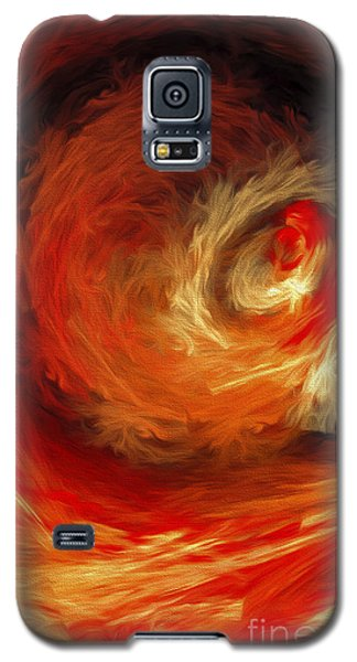 Galaxy S5 Case featuring the digital art Fire Storm Abstract by Andee Design