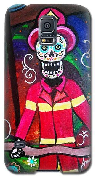 Galaxy S5 Case featuring the painting Fireman Dia De Los Muertos by Pristine Cartera Turkus