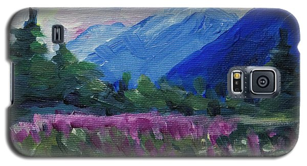 Galaxy S5 Case featuring the painting Fireweed At Outer Point Alaska by Yulia Kazansky