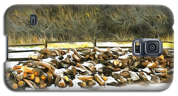 Galaxy S5 Case featuring the photograph  Floyd Snyder by Firewood in the Snow at Fort Tejon
