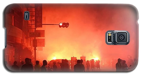 Galaxy S5 Case featuring the photograph Fireworks During A Temple Procession by Yali Shi