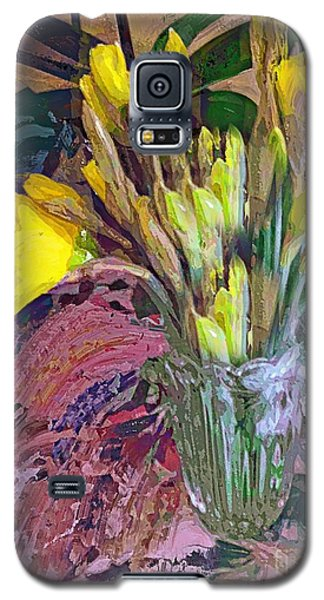 Galaxy S5 Case featuring the digital art First Daffodils by Alexis Rotella