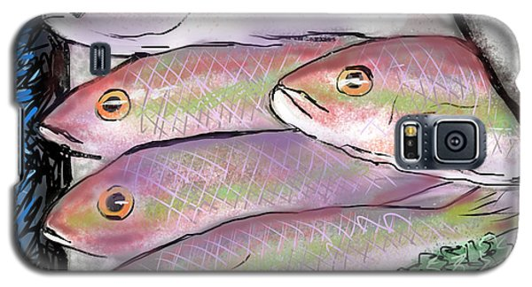 Galaxy S5 Case featuring the digital art Fish Market by Jean Pacheco Ravinski