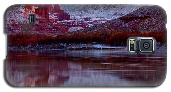 Galaxy S5 Case featuring the photograph Fisher Towers Landscape Glow by Adam Jewell