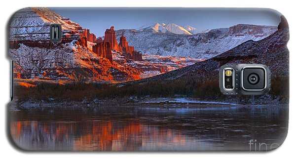 Galaxy S5 Case featuring the photograph Fisher Towers Sunset Glow Panorama by Adam Jewell