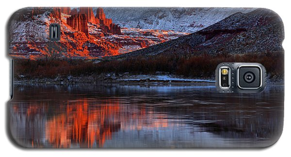 Galaxy S5 Case featuring the photograph Fisher Towers Sunset On The Colorado by Adam Jewell