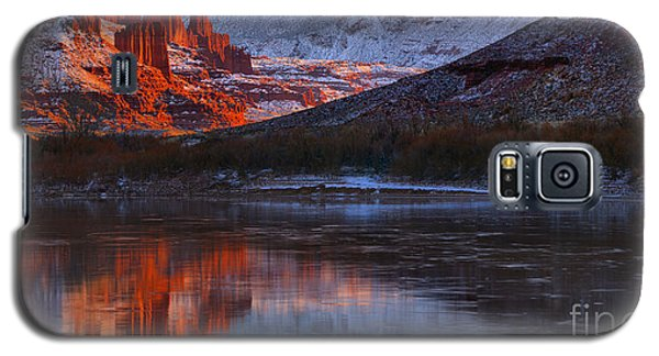 Galaxy S5 Case featuring the photograph Fisher Towers Sunset Reflection Panorama by Adam Jewell