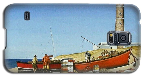Galaxy S5 Case featuring the painting Fishermen By Lighthouse by Natalia Tejera