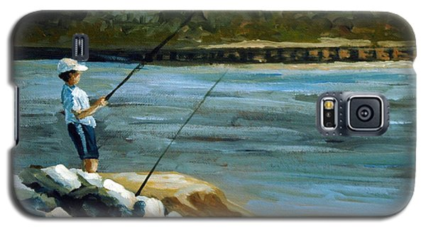 Galaxy S5 Case featuring the painting Fishing At The Point by Suzanne McKee