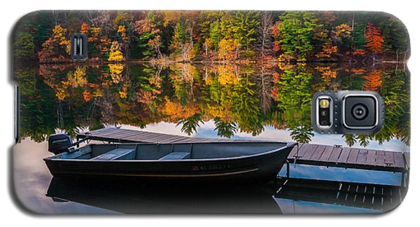 Galaxy S5 Case featuring the photograph Fishing Boat On Mirror Lake by Rikk Flohr