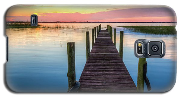 Galaxy S5 Case featuring the photograph Fishing Dock At Sunrise by Debra and Dave Vanderlaan