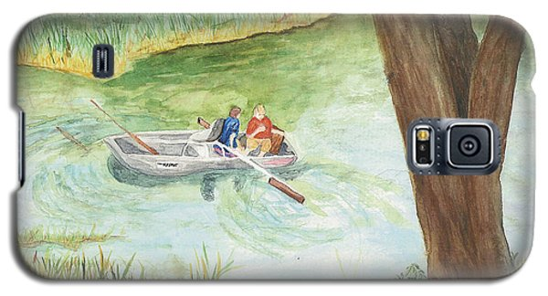 Galaxy S5 Case featuring the painting Fishing Lake Tanko by Vicki  Housel