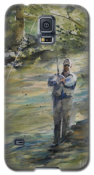 Galaxy S5 Case featuring the painting Fishing The Sturgeon by Sandra Strohschein