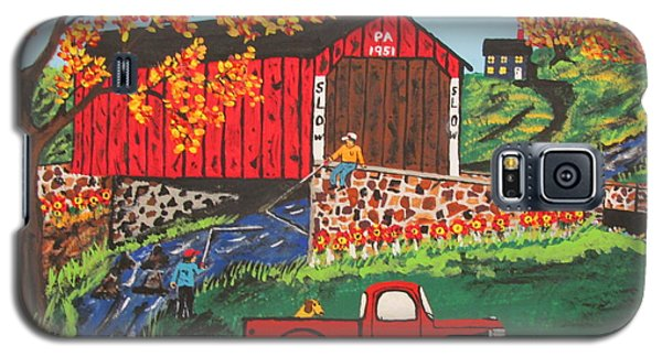 Galaxy S5 Case featuring the painting Fishing Under The  Covered Bridge by Jeffrey Koss
