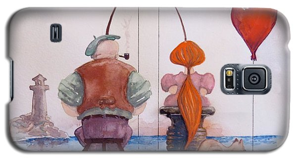 Galaxy S5 Case featuring the painting Fishing With Grandpa by Geni Gorani