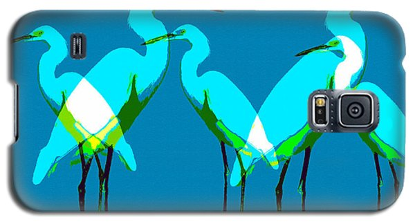 Galaxy S5 Case featuring the painting Five Egrets by David Lee Thompson