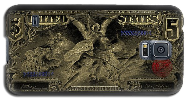Galaxy S5 Case featuring the digital art Five U.s. Dollar Bill - 1896 Educational Series In Gold On Black  by Serge Averbukh