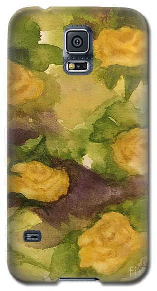 Galaxy S5 Case featuring the painting Five Yellow Roses by Lucia Grilletto