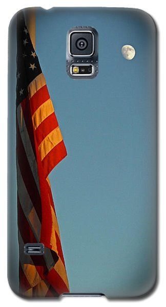 Galaxy S5 Case featuring the photograph Flag And The Moon by Charles Ables