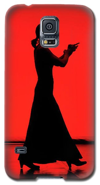 Galaxy S5 Case featuring the photograph Flamenco Red An Black Spanish Passion For Dance And Rithm by Pedro Cardona