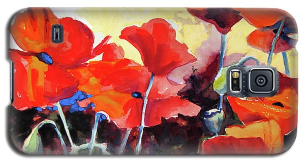 Galaxy S5 Case featuring the painting Flaming Poppies by Kathy Braud