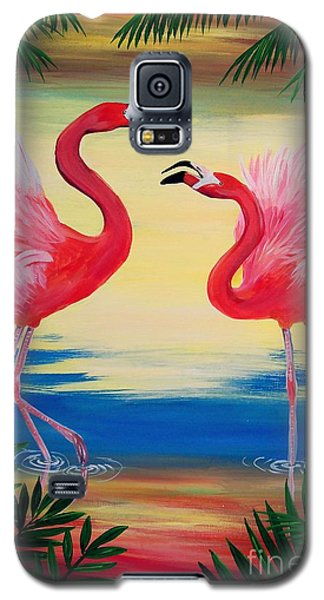 Galaxy S5 Case featuring the painting Flamingo Courtship Dance by Patricia L Davidson