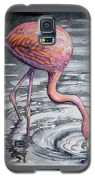 Galaxy S5 Case featuring the painting Flamingo Fishing  II by Martha Ayotte