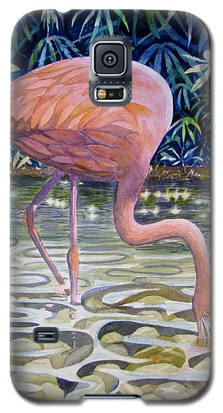 Galaxy S5 Case featuring the painting Flamingo Fishing by Martha Ayotte
