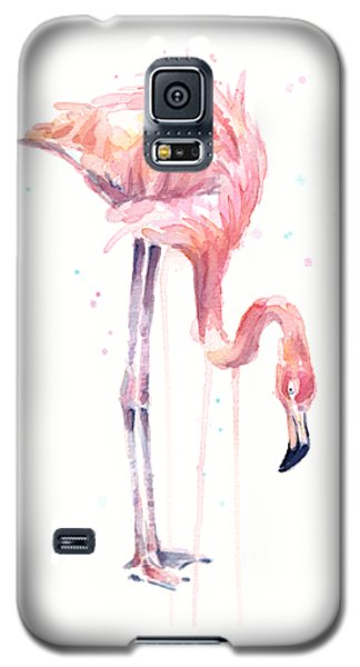Flamingo Illustration Watercolor - Facing Left Galaxy S5 Case by Olga Shvartsur