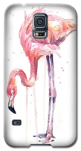 Flamingo Galaxy S5 Case - Flamingo Illustration Watercolor - Facing Left by Olga Shvartsur