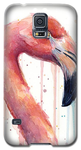 Flamingo Painting Watercolor - Facing Right Galaxy S5 Case