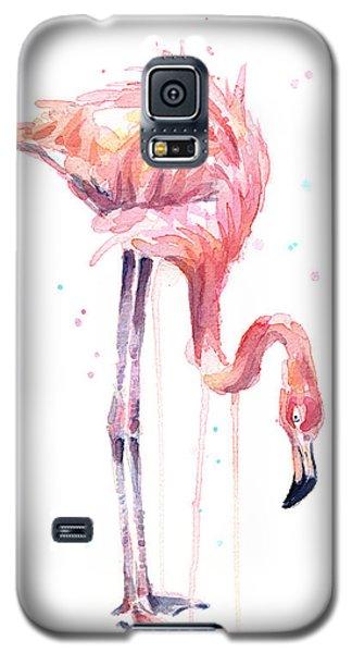 Flamingo Galaxy S5 Case - Flamingo Painting Watercolor by Olga Shvartsur
