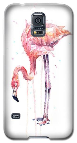 Flamingo Galaxy S5 Case - Flamingo Watercolor - Facing Left by Olga Shvartsur