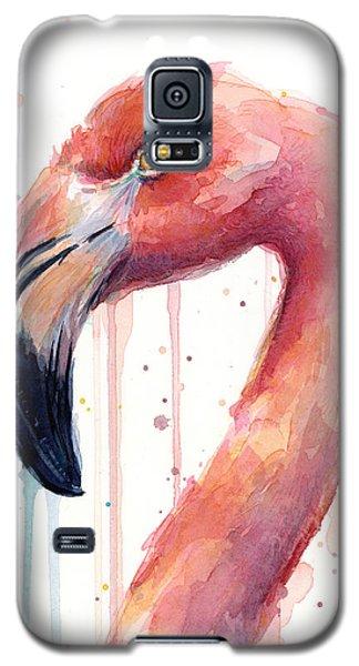 Flamingo Galaxy S5 Case - Flamingo Watercolor Illustration by Olga Shvartsur