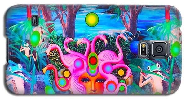 Galaxy S5 Case featuring the photograph Flamingodeusa In The Neon Jungle by Douglas Fromm