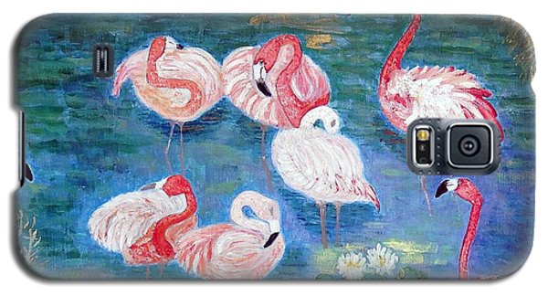 Galaxy S5 Case featuring the painting Flamingos Diptich Right by Vicky Tarcau