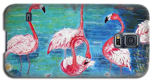 Galaxy S5 Case featuring the painting Flamingos Diptich Left by Vicky Tarcau