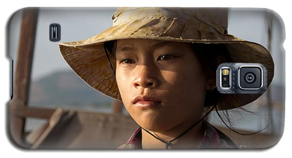 Floating Drink Seller Girl On The Tonle  Sap Lake In Cambodia Galaxy S5 Case