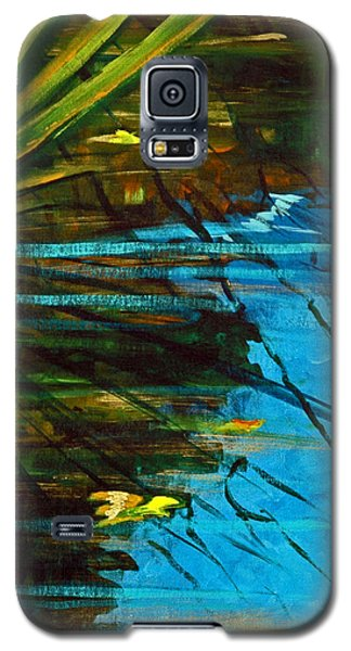 Galaxy S5 Case featuring the painting Floating Gold On Reflected Blue by Suzanne McKee