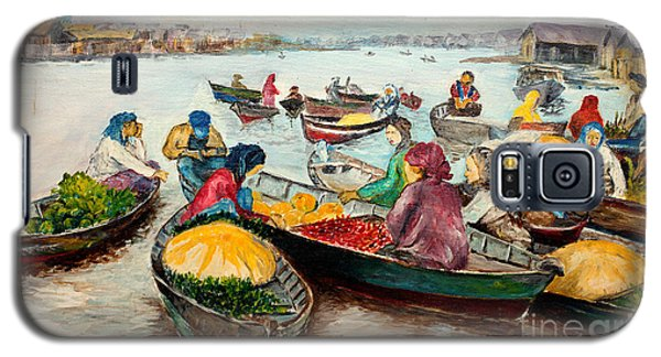 Galaxy S5 Case featuring the painting Floating Market by Jason Sentuf