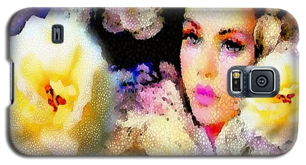 Galaxy S5 Case featuring the painting Floral Mosaic She In Thick Paint by Catherine Lott