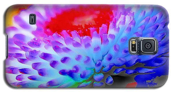 Galaxy S5 Case featuring the painting Floral Rainbow Splattered In Thick Paint by Catherine Lott