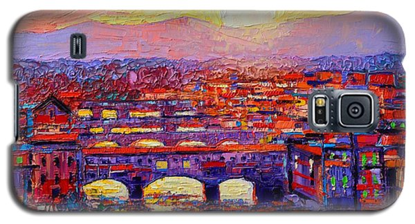 Florence Sunset Over Ponte Vecchio Abstract Impressionist Knife Oil Painting By Ana Maria Edulescu Galaxy S5 Case