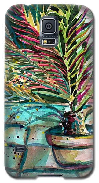 Galaxy S5 Case featuring the painting Florescent Palm by Mindy Newman