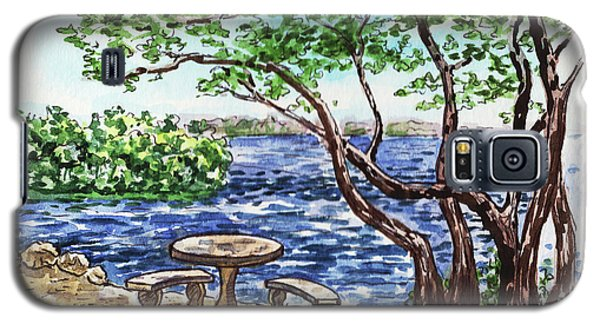 Galaxy S5 Case featuring the painting Florida Keys John Pennekamp Park Shore by Irina Sztukowski